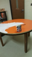 Whiteboard painting the table in my new office